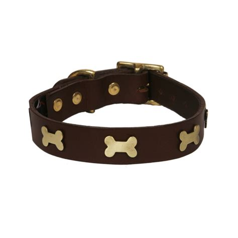 collar for dogs leather collar brass bones chocolate annabel chaffer