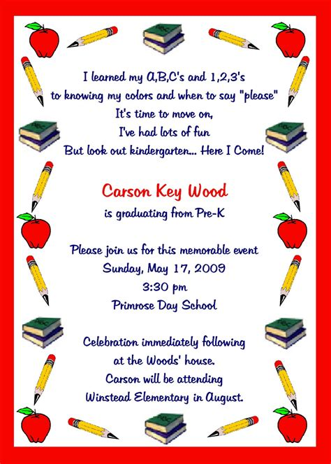Kindergarten Graduation Invitations Template   Best