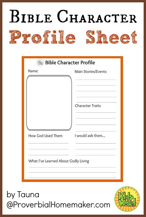 Children S Bible Study Worksheets by Bible Character Profile Sheet Bible Characters And Profile