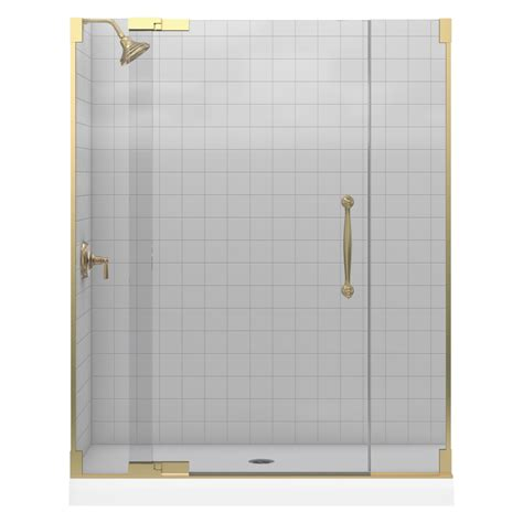 Bronze Shower Doors Frameless Shop Kohler Bronze Frameless Pivot Shower Door At