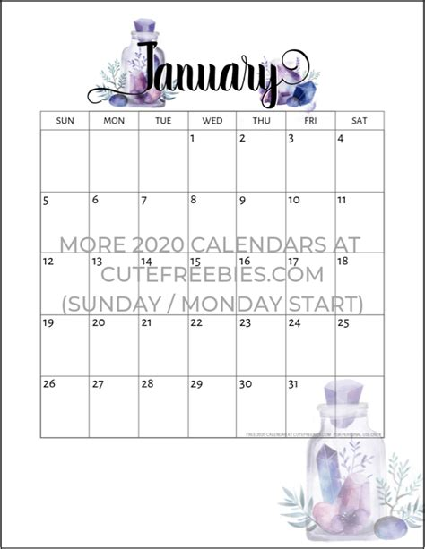 printable   calendar crystal gems monthly planner printable  printables