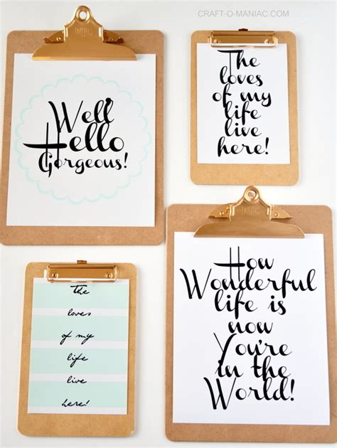 printable art diy clipboard wall art with free printables