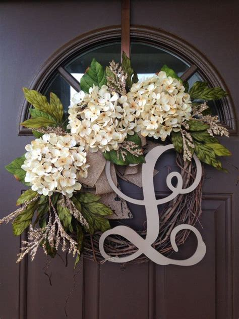 Best Selling Year Round Cream Hydrangea Wreath For By Year Wreaths For Front Door