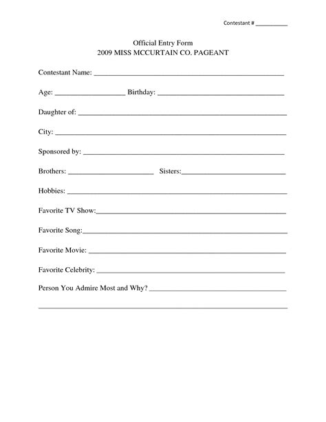 sweepstakes entry form template 9 best images of contest entry form template print 5k