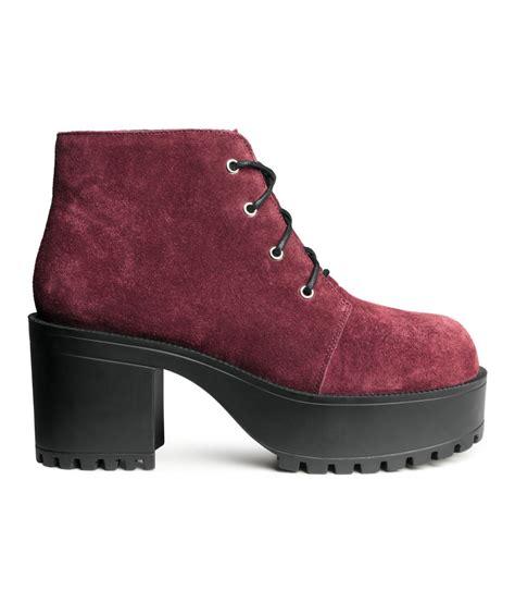 h m suede platform boots in purple lyst