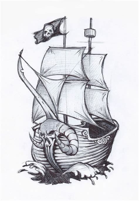 pirate boat drawing easy drawn sailing ship pirate boat pencil and in color drawn