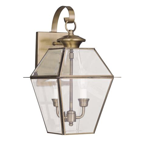 Brass Outdoor Lighting Livex Lighting Westover Antique Brass Outdoor Wall Light 2281 01 Destination Lighting