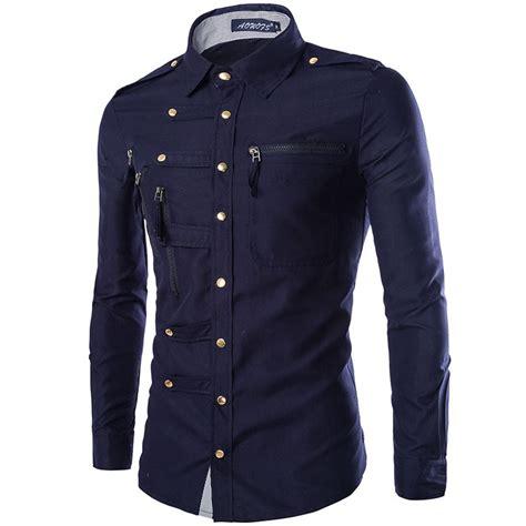 Kemeja Slim Import 2 Picture new fashion mens luxury stylish casual dress slim fit t