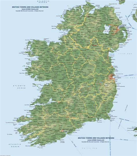 ireland physical map topographical terrain or physical map of northern ireland
