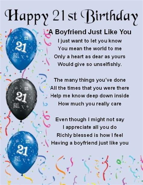 Personalised Birthday Cards For Boyfriend Fridge Magnet Personalised Boyfriend Poem 21st