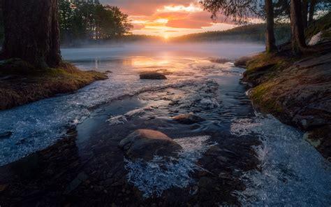 sunrise  sun rays frozen creek trondheim norway