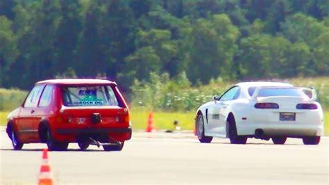 Toyota Supra Turbo vs VW GOLF 1 Rotorrabbit DRAG Race Acceleration Viertelmeile Beschleunigung 1