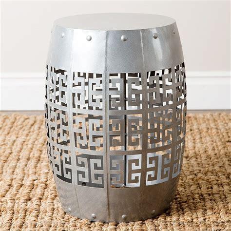 grace metal garden stool in silver md v40386 sil