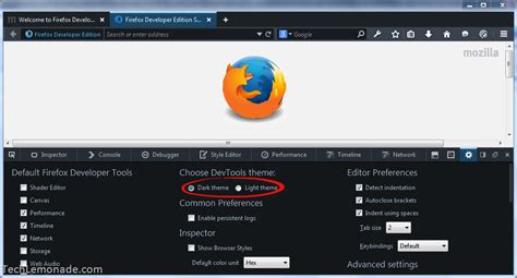 firefox themes settings how to change firefox developer edition dark theme to