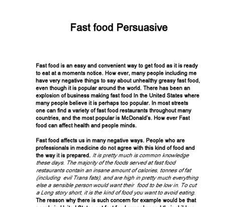 Fast Food Essay by Fast Food Persuasive Writing Gcse Marked By Teachers