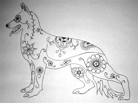 tattoo pen for dogs sugar skull german shepherd pen and ink drawing dog
