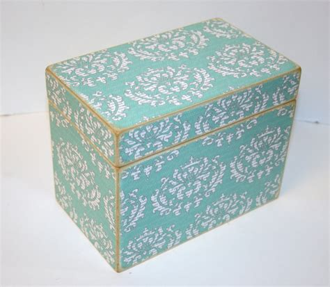 Handmade Recipe Box - recipe box aqua gray and white damask handmade 4x6 wooden