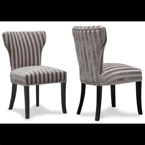 Wing Back Dining Chairs Luxury Set Of 2 Wing Back Fabric Dining Chairs Mink Silver Striped Ebay