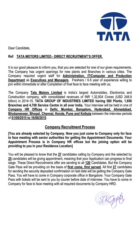 Offer Letter For Joining Offer Letter Format Indian Company Tata Motors Limited