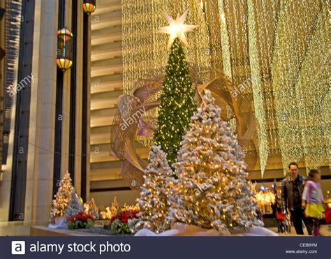 christmas tree lots in san franciso trees in the lobby of the hyatt regency hotel san stock photo royalty free image