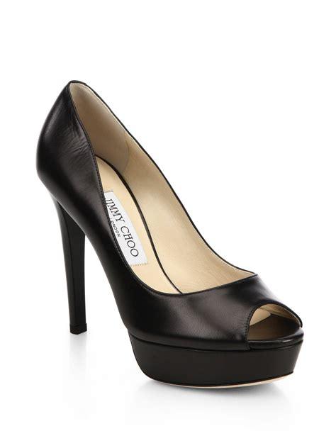 Peep Toe Shoes From Tuk by Lyst Jimmy Choo Dahlia Kid Leather Platform Peep Toe