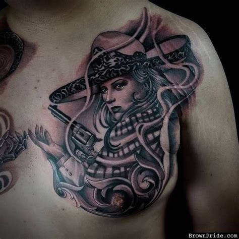 charras tattoos black and grey artistic on chest