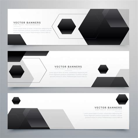 header card design template abstract hexagonal black header banners background vector