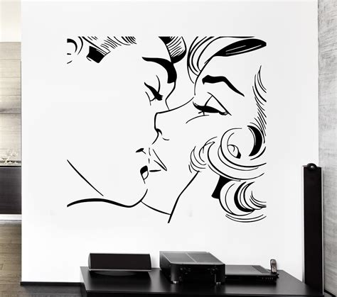 romantic wall stickers for bedrooms popular couple kissing art buy cheap couple kissing art lots from china couple kissing