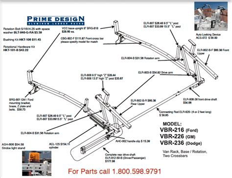 Ladder Rack Parts by Order Replacement Parts For Prime Design Racks And Aluminum Ladder Racks