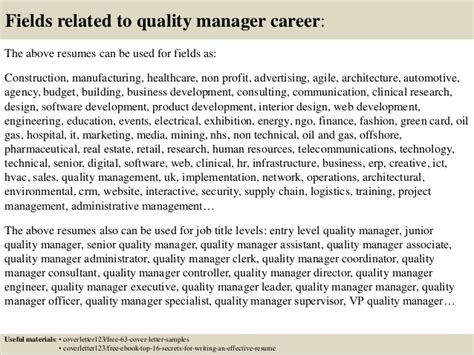 cover letter quality manager top 5 quality manager cover letter sles