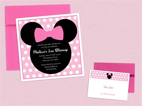 Undangan Ulang Tahun Birthday Invitation Minnie Mouse mini mouse invitations the side s up