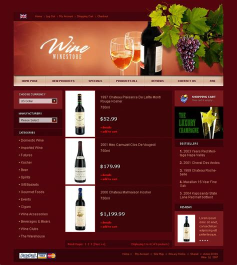 Wine Zencart Template 21001 Free Wine Website Templates