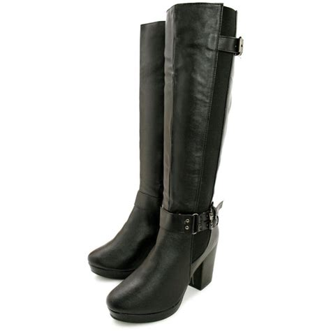black high heel boots leather buy hana block heel stretch platform knee high boots