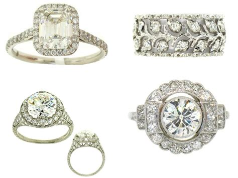 vintage platinum and engagement rings with pave