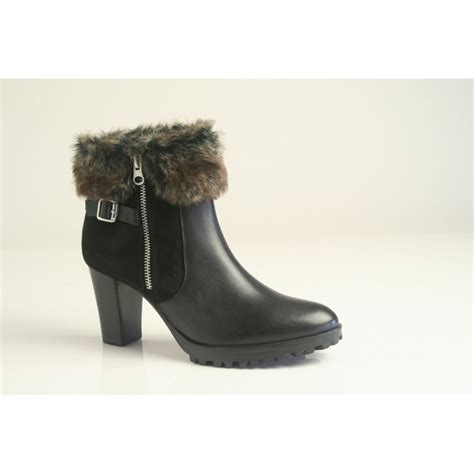 caprice caprice black leather zip up ankle boot with gold