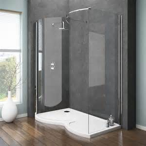 ventura curved walk in shower enclosure with tray