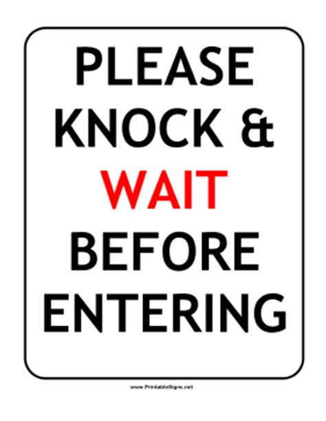Knock The Door Sign by Knock Sign Printable Pilotproject Org