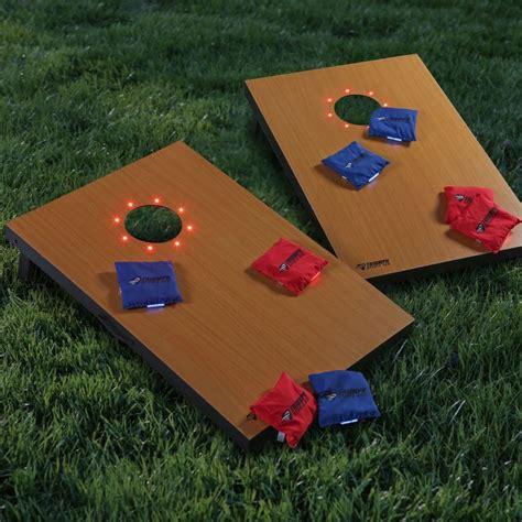 backyard game sets led cornhole backyard game w case wood corn hole set
