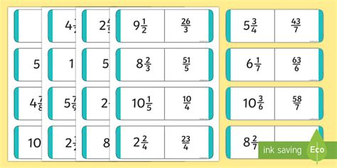 printable mixed number cards mixed number and improper fractions dominoes top heavy