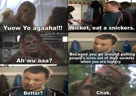 Snickers Commercial Meme - hungry ewoks defeated the empire on endor snickers