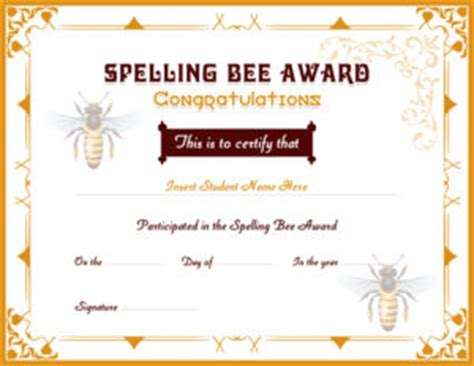 spelling bee award certificates professional certificate