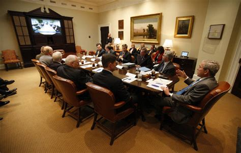 roosevelt room white house president bush participates in teleconference with afghanistan provincial reconstruction