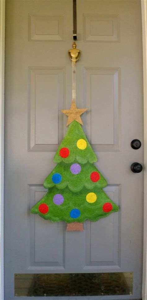 christmas tree burlap door and wall hanger by