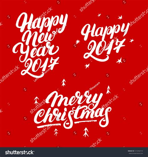 merry christmas modern set happy new year 2017 merry stock vector 515356714