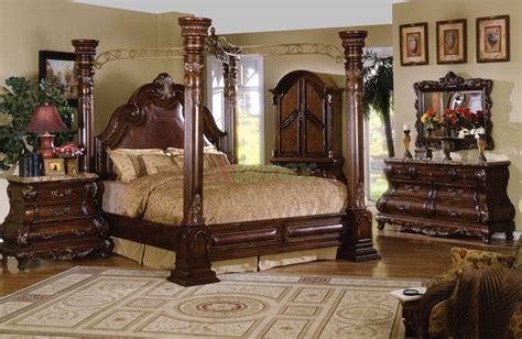 Poster Bedroom Furniture Set With Leather Headboard | traditional poster bedroom furniture set metal canopy