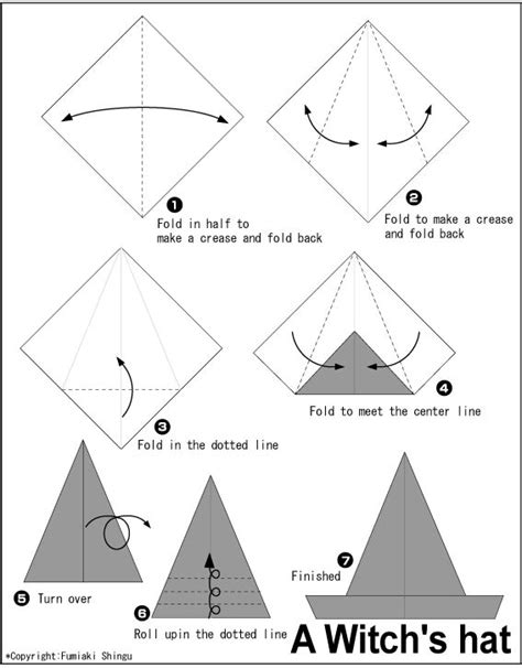 printable paper hat instructions origami a witch s hat instructions easy origami