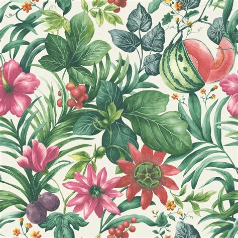 botanical print wallpaper grandeco botanical fruit flower pattern wallpaper tropical