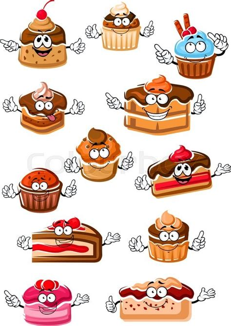 Cartoon delicious cupcakes, chocolate cakes, berry pies