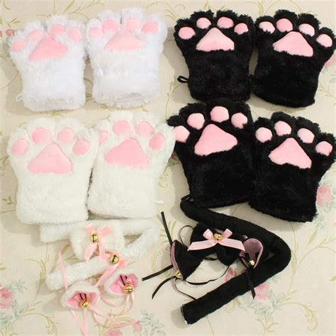 Chn Tiger Pink Set kitten cat play anime costume gloves paw