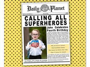 newspaper invitation template superman batman justice league birthday newspaper